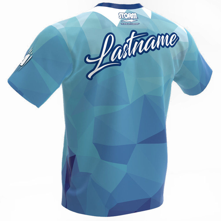 bowling jersey - storm - blue polygons - back