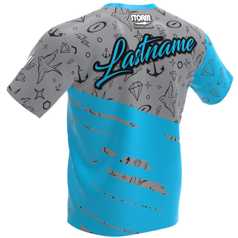 The Punk Kid - Storm Bowling Jersey Gray and Blue Back