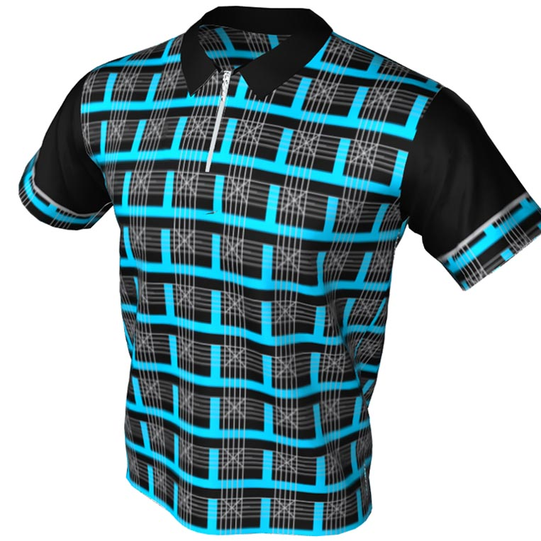 All Strikes bowling frames - Polo Zip Bowling Jersey