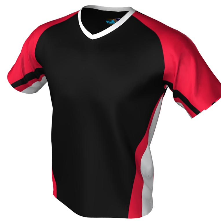 black and red - v neck bowling jersey