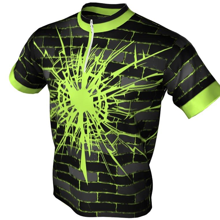 neon green brick pattern - 1/4 bowling jersey