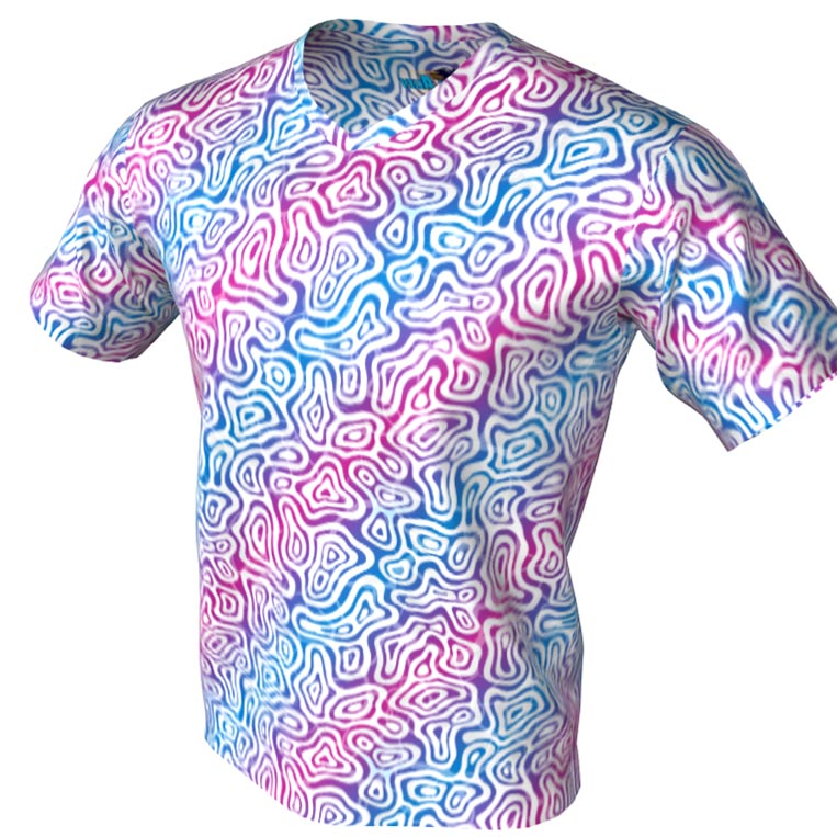 cellular blue and red stripes - v neck bowling jersey