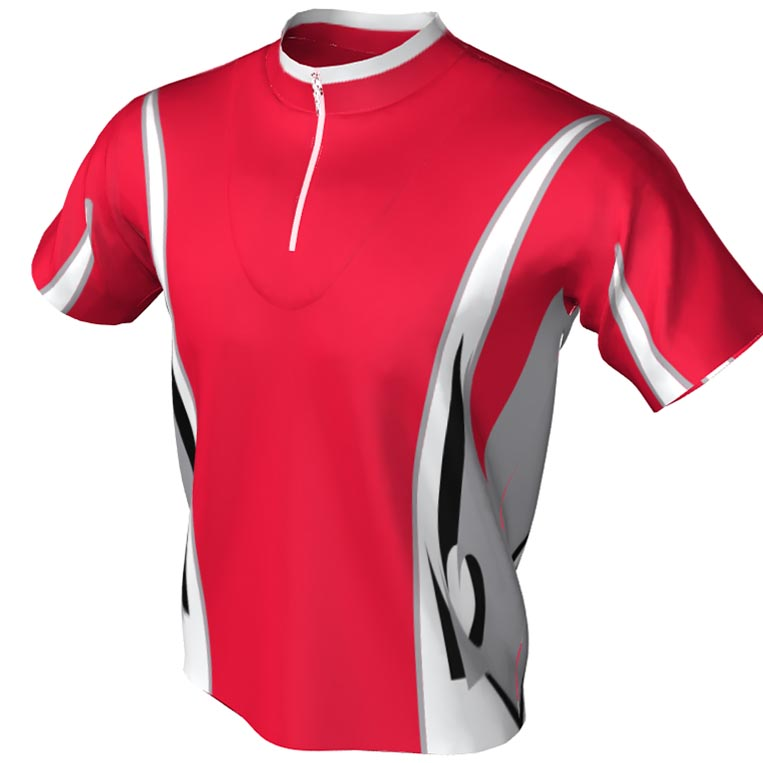 Red and white bowling jersey