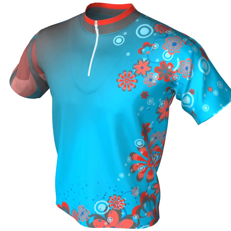 teal and orange - 1/4 zip bowling jersey