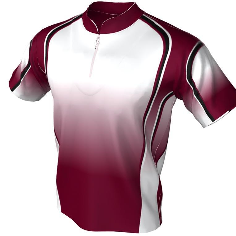 Red and White fade Pattern - Mandarin bowling jersey