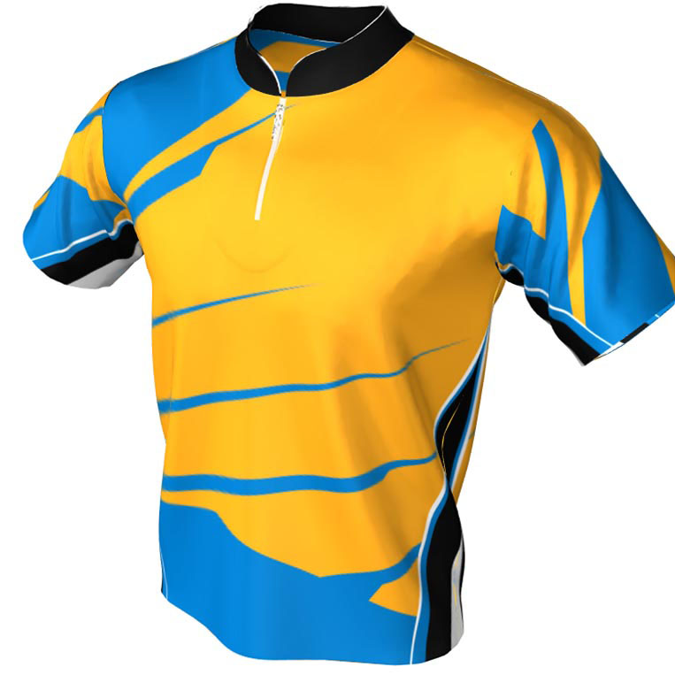 2 Tone Yellow and Blue - mandarin zip jersey