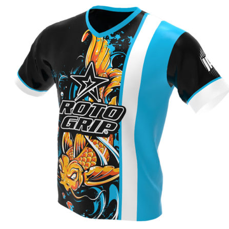 jersey alley - koi fish - blue roto grip bowling jersey - front