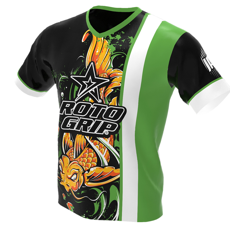 jersey alley - koi fish - green roto grip bowling jersey - front