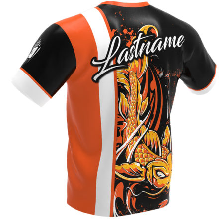 jersey alley - koi fish - orange roto grip bowling jersey - back