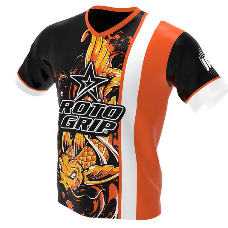 jersey alley - koi fish - orange roto grip bowling jersey - front