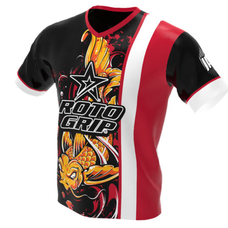 jersey alley - koi fish - red roto grip bowling jersey - front
