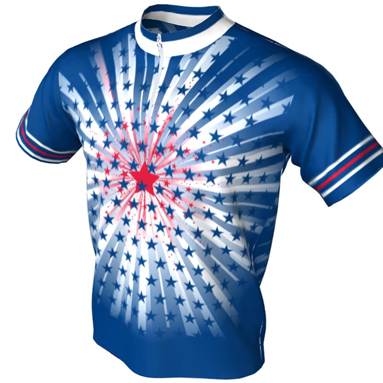 red white and blue star - bowling jersey