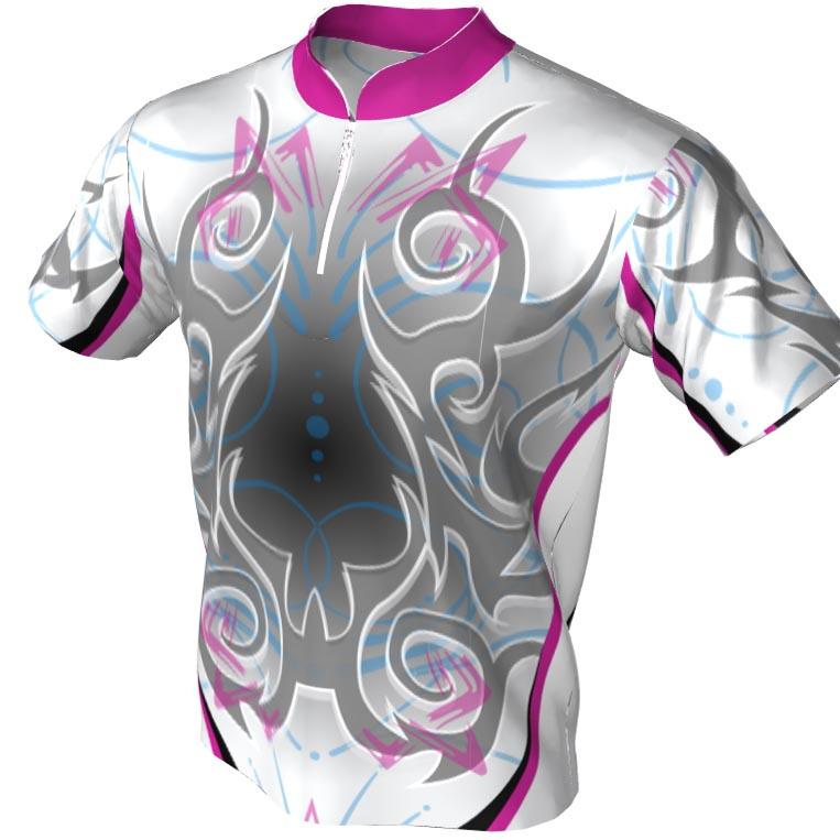 pink white grey black tribal pattern - mandarin zip bowling jersey