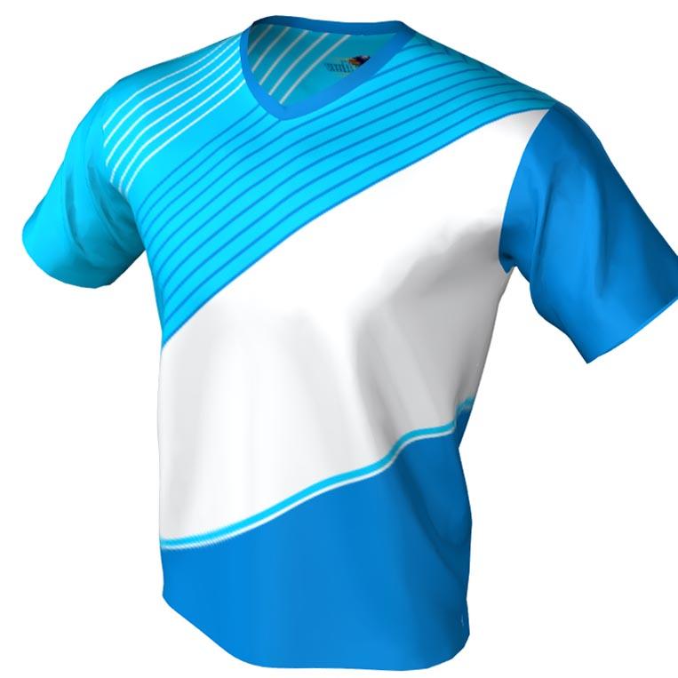 Blue and white sash pattern - v neck bowling jersey